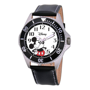 jcpenney.com | Disney Honor Mens Mickey Mouse Black Leather Strap Watch
