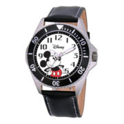 Disney Honor Mens Mickey Mouse Black Leather Strap Watch
