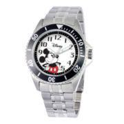 Disney Honor Mens Mickey Mouse Silver-Tone Stainless Steel Watch