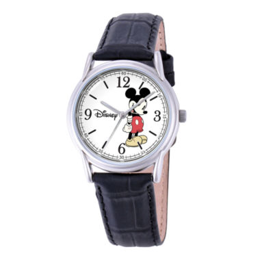 jcpenney.com | Disney Cardiff Womens Mickey Mouse Black Leather Watch