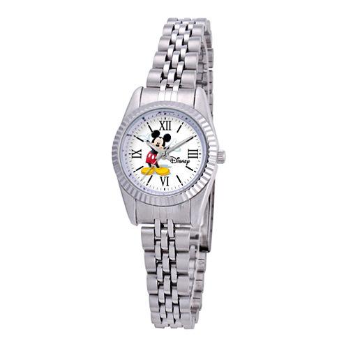 Disney Status Womens Mickey Mouse Silver-Tone Metal Bracelet Watch