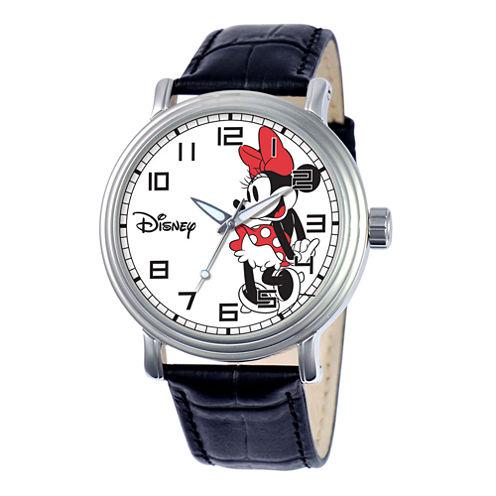 Disney® Vintage Womens Minnie Mouse Black Leather Strap Watch