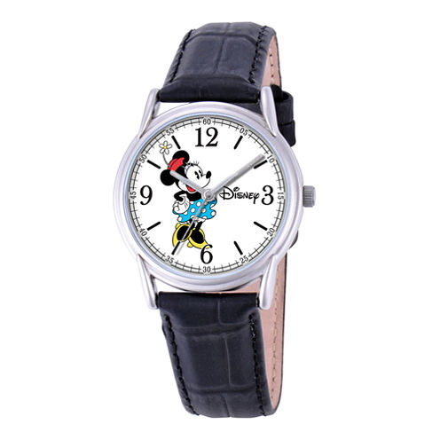 Disney Cardiff Womens Minnie Mouse Black Leather Watch