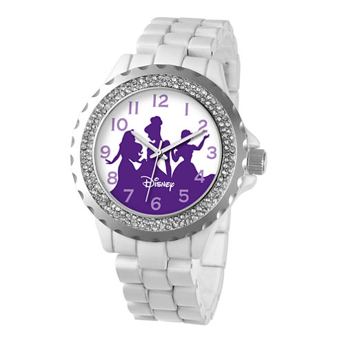 Disney Womens Princess White Enamel Sparkle Watch