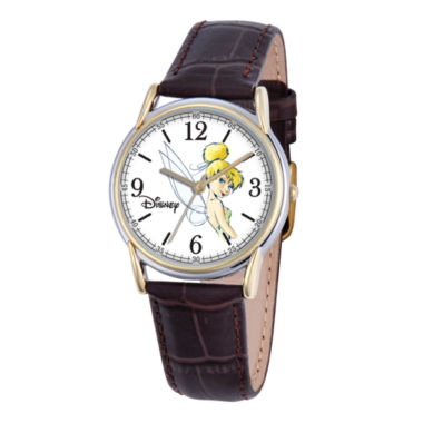 jcpenney.com | Disney Cardiff Womens Tinker Bell Brown Leather Watch