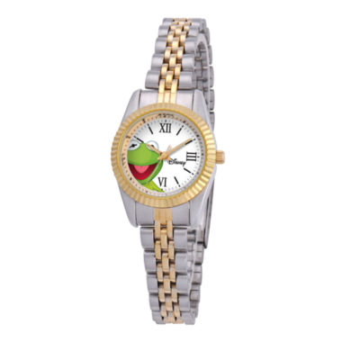 jcpenney.com | Disney Status Womens Kermit the Frog Two-Tone Metal Bracelet Watch