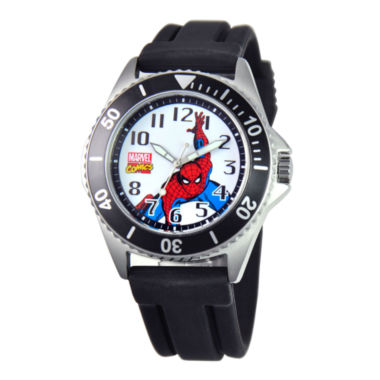jcpenney.com | Disney Honor Mens Spiderman Black Silicone Strap Watch