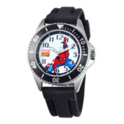 Disney Honor Mens Spiderman Black Rubber Watch
