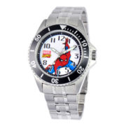 Disney Honor Mens Spiderman Silver-Tone Stainless Steel Watch