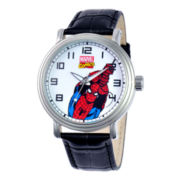 Disney® Vintage Mens Spiderman Black Leather Strap Watch