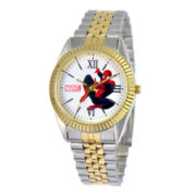 Disney Status Mens Spiderman Two-Tone Metal Bracelet Watch