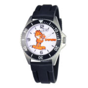 Disney Honor Mens Garfield Black Rubber Strap Watch
