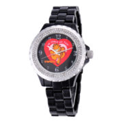 Disney Womens Garfield Black Enamel Sparkle Watch