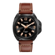 Citizen® Grand Touring Mens Leather Strap Automatic Watch NB0075-11F