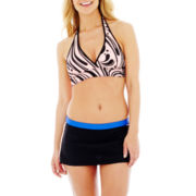 Zero Xposur® Reversible Print Halter Swim Top or Skirted Bottoms