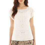 MNG by Mango® Short-Sleeve Laser-Cut Shirt with Cami