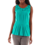 Worthington® Lace-Yoke Peplum Top - Petite