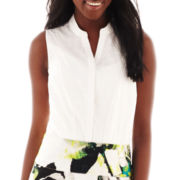 Worthington® Sleeveless Laser-Cut Blouse