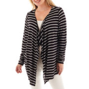 a.n.a® Long-Sleeve Drape-Front Flyaway Cardigan - Plus