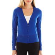 Worthington® Long-Sleeve Pointelle-Trim Cardigan Sweater