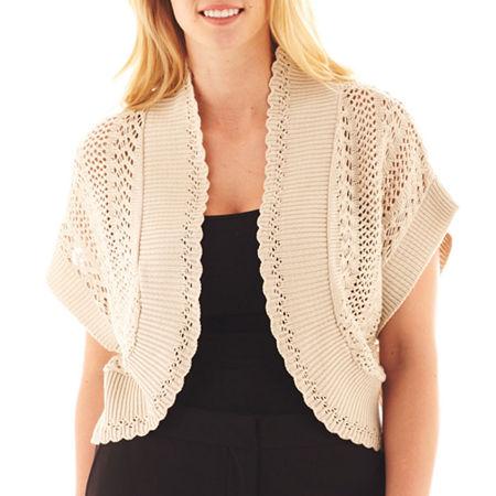 Robbie Bee Short-Sleeve Crochet Shrug - Plus