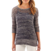 Liz Claiborne 3/4-Sleeve Open-Front Marled Sweater