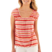Liz Claiborne Short-Sleeve Peasant Top with Cami