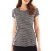 Liz Claiborne® Short-Sleeve Ballet-Neck Print Tee