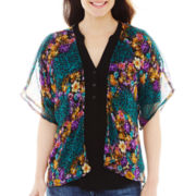 Floral and Animal-Print Ruana Wrap