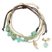 Arizona Aqua Bead Ankle Bracelet and Toe Ring Set