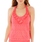 Bisou Bisou® Crochet Ruffled Halterkini Swim Top
