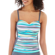 Free Country® Shirred Striped Tankini Swim Top