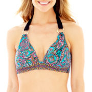 Liz Claiborne® Paisley Print Push-Up Halter Swim Top