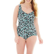 Azul by Maxine of Hollywood Shirred-Front Girl-Leg 1-pc. Swimsuit - Plus