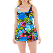 Azul by Maxine of Hollywood Floral Print 1-pc. Swimdress - Plus