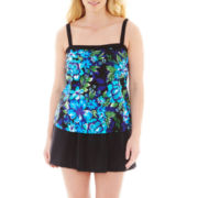 Azul by Maxine of Hollywood Floral Print 1-pc. Skirtini Swimdress - Plus