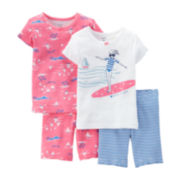 Carter's® 4-pc. Surf Girl and Boats Pajama Set – Preschool Girls 4-7