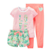 Carter's® 3-pc. Floral Love Pajama Set – Preschool Girls 4-7