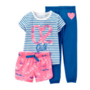 Carter's® 3-pc. Striped Island Pajama Set - Preschool Girls 4-7