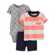 Carter's® 3-pc. Bodysuit and Shorts Set − Baby Boys newborn-24m