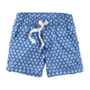 Carter's® Blue Geo Woven Shorts - Baby Girls 6m-24m