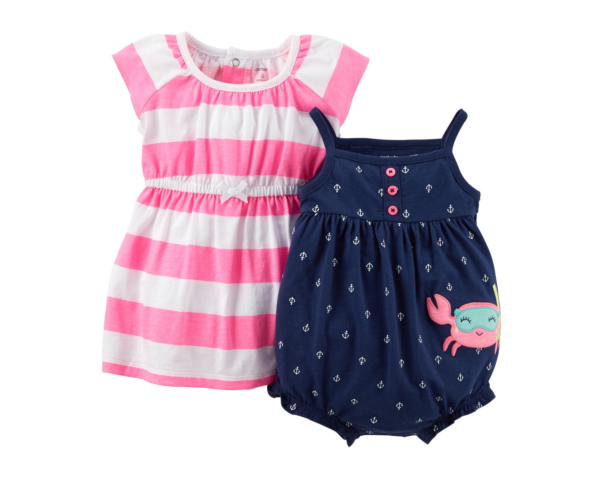 UPC Carter s Baby Girls 2 Piece Dress & Romper Set