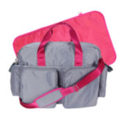 Trend Lab® Deluxe Duffle Diaper Bag-Gray and Magenta Pink