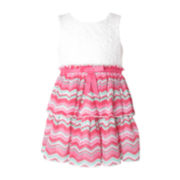 Pinky Ivory Chevron Dress - Toddler Girls 2t-4t