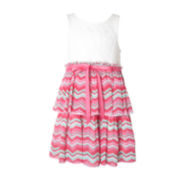 Pinky Ivory Chevron Dress - Preschool Girls 4-6x
