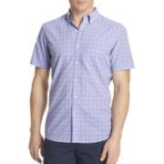 IZOD® Short-Sleeve Small Plaid Poplin Shirt