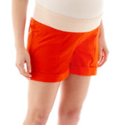 a.n.a® Maternity Stretch Poplin Cuffed Utility Shorts - Plus