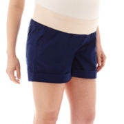 a.n.a® Maternity Stretch Poplin Cuffed Utility Shorts