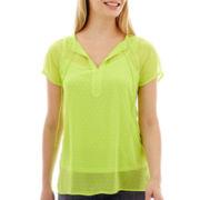 Liz Claiborne® Short-Sleeve Tie-Neck Print Peasant Blouse