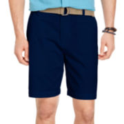 IZOD® Belted Twill Flat-Front Shorts